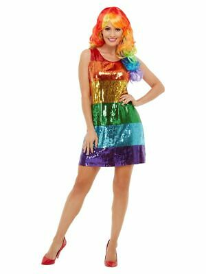 Women's All That Glitters Rainbow Fancy Dress Costume Pride LGBT Sequin Outfit