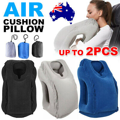 Inflatable Air Travel Pillow Airplane Pad Footrest Neck Head Cushion Office