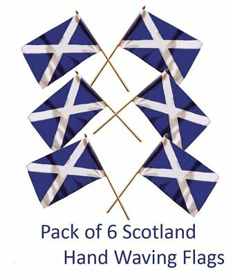 Set of 6 Scotland Hand Flags St Andrew's Cross Scottish Saltire Hand Waving Flag