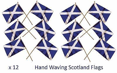 Set of 12 Scotland Hand Flags St Andrew Cross Scottish Saltire Hand Waving Flag
