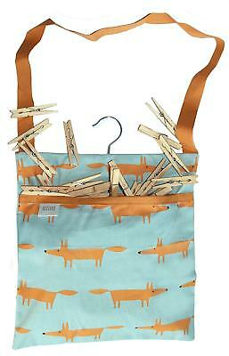 Mr Fox Print Wipe Clean Cotton Peg Bag With Hanging Hook & 40 Wooden Pegs - Blue