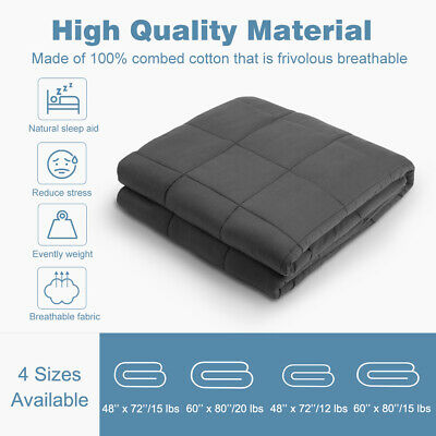 "Weighted Blanket 15 Lbs 48 X 72"" Gravity Blankets Sensory Sleep Anxiety Reduce"