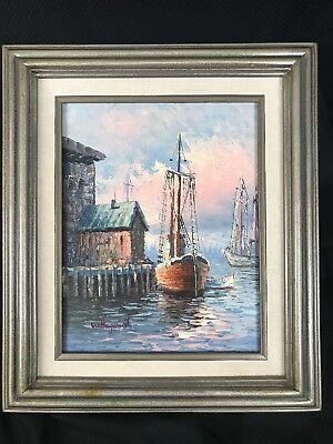 W. Hayward Ships in the Harbor signed painting Sea Ship Boat Dock 14.5x12.5