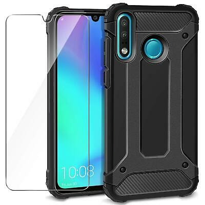For Huawei P30 Lite MAR-LX1A Black Armour ShockProof Phone Case + Tempered Glass