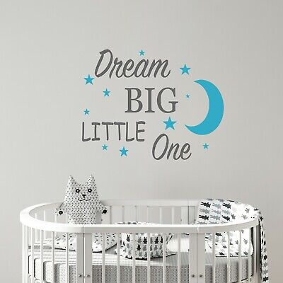 Dream big little one quote Wall Sticker nursery baby bedroom Decal gift art v036