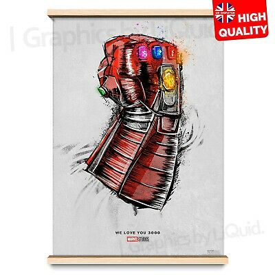 Avengers End Game Poster Movie Re-Release We Love You 3000 Print | A4 A3 A2 A1 |