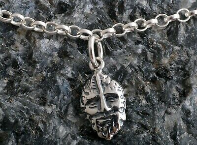4ae42beb6fe Sterling Silver Ankle Chain Bracelet Anklet ~ Green Man Charm 925