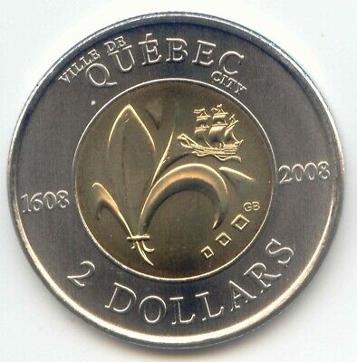 Canada 1608 - 2008 QUEBEC CITY Toonie Two Dollar Coin Canadian $2 UNC