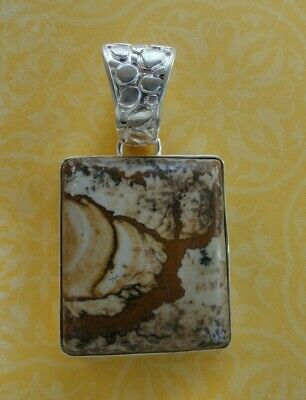 Solid Sterling Silver Brown Lace Agate Stone LARGE Pendant Wide Bail