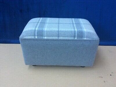 Upholstered footstool / pouffe / seat in Laura Ashley Highland check steel wool