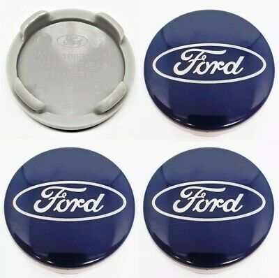 4x Ford 54mm Alloy wheel centre caps. Fits most Ford models Focus Fiesta KA