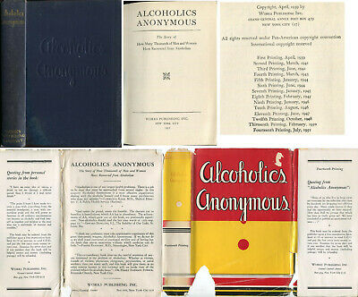 Alcoholics Anonymous First Edition 14th Printing 1951 Origina DJ 1st AA Big Book