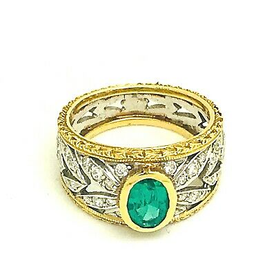 Natural Colombian Emerald 1.15ct.& Diamonds 0.70ct 18k. Gold Ring Size L 1/2