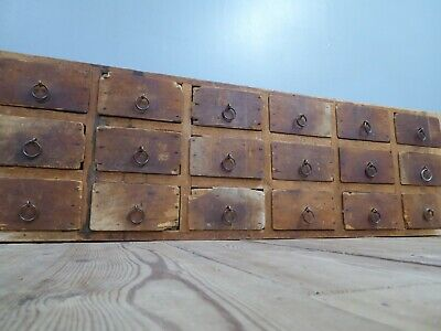 Vintage Industrial Antique Bank Of Timber Workshop Drawers Collectors Apothecary