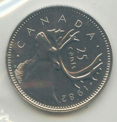Canada 1982 Prooflike Canadian Quarter Twenty-five Cent 25c UNC Mint Plio PL ~