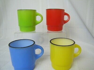 Vintage Fire King Stacking Coffee Mug Set of 4 Primary Colors C Handle RARE!