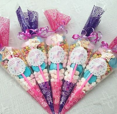 10 X Pink+purple Unicorn Themed Pre Filled Sweet Cones  + Free Sweety Bag
