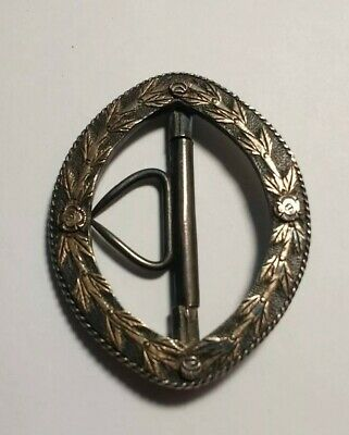 RARE Antique Silver With 14k Yellow Gold Buckle Sash Clip, Victorian/Edwardian