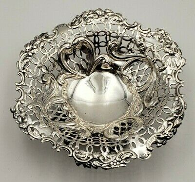 Exquisite Antique English Sterling Silver Pierced Dish w/ Bow Design #6926