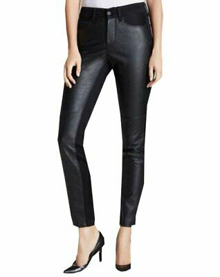 NWT NYDJ Not Your Daughters Jeans ALINA BLACK Womens Leggings FAUX LEATHER FRONT