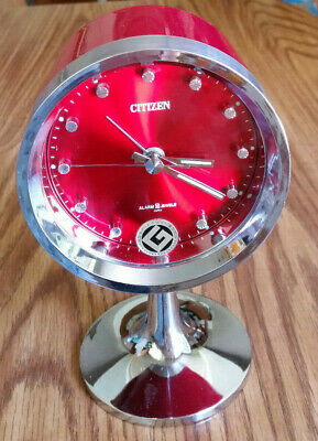 Citizen Pedestal Plastic Red Alarm Clock Wind-Up 2 Jewels Glow Hands Japan Vtg