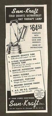 Vintage Ad From 1945 Saturday Evening Post - Sun-Kraft Ultraviolet Therapy Lamp