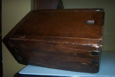 Very Early Antique Candle Box Or Storage Box..large Dovetails !!     Large Squar