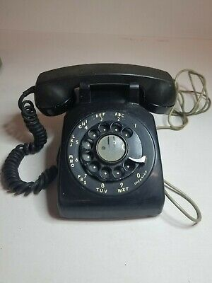 1956 BLACK BELL SYSTEM WESTERN ELECTRIC 500 ROTARY DIAL TELEPHONE, G-1 Handset!!