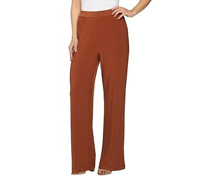 Linea by Louis Dell'Olio Womens Moss Crepe Pants Solid Cinnamon X-Large Size QVC