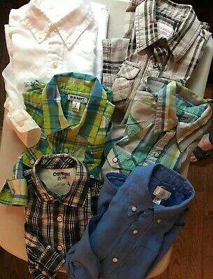 Lot of 6 boys sz 4t button down shirts Various Brands Linen, Western GUC Box O