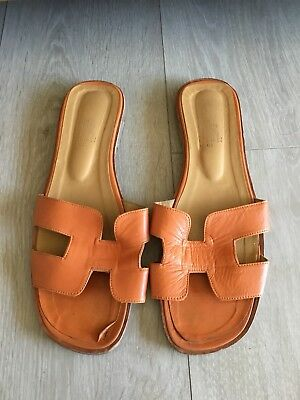 Sandales Orange Hermès Authentique Tres Oran 41 Cuir Belle CoeBdxr