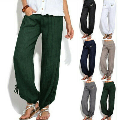 Plus Size Women Casual Linen Harem Pants Loose Baggy Wide Leg Yoga Long Trousers