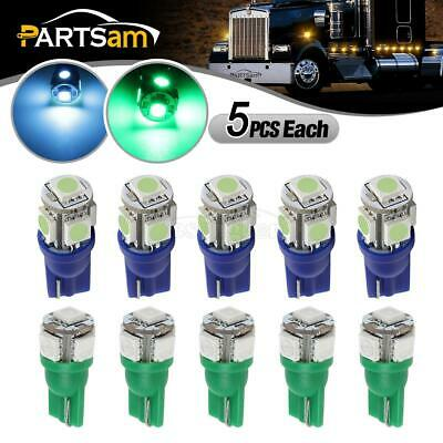 10xIce Blue/Green 161 5-5050 LED Bulb Wedge Type for 80-97 Ford Cab Marker Light