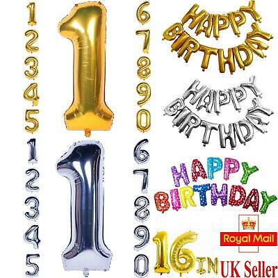 Happy Birthday Self Inflating Balloon Banner Bunting Party Decoration Numbers