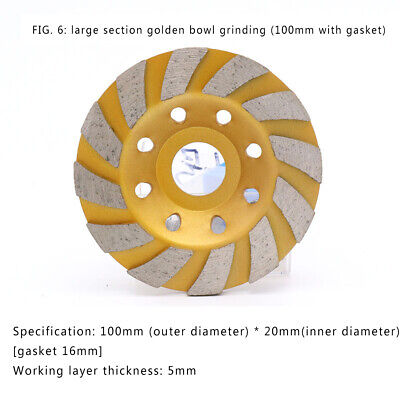 "100mm 4"" Diamond Segment Grinding Cup Wheel Disc Grinder Concrete Granite Stone"