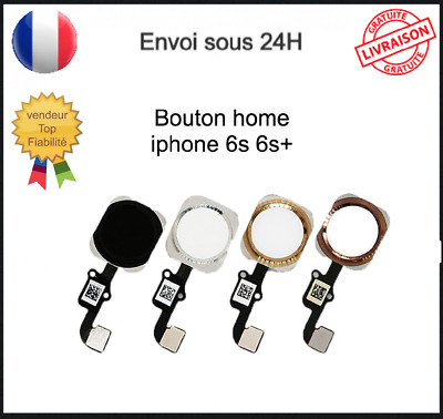 Nappe Bouton Home Complet Qualite Iphone 6S 6Splus Noir Blanc Gold Silver Rose