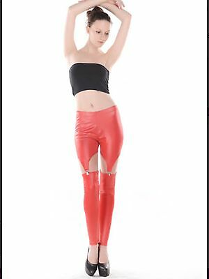 Sexy Stretchy Red Faux PVC Wet Look Fetish Suspender Stockings BNWT size 8 10