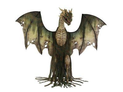 7 Ft Animated Winter Green Forest Dragon Halloween Prop Life Size Fog Haunted
