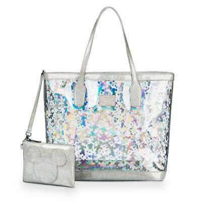 Disney & Loungefly Mickey Mouse Magic Mirror Metallic Tote Transparent Silver