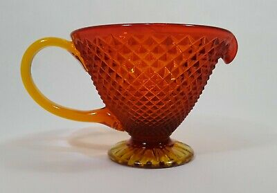 Vintage Jeannette Glass Amberina Diamond Point Footed Pitcher
