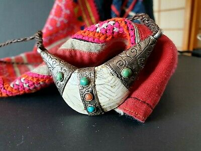 Old Tibetan Hand Made Tribal Talisman Necklace on Braded Cord …beautiful collect