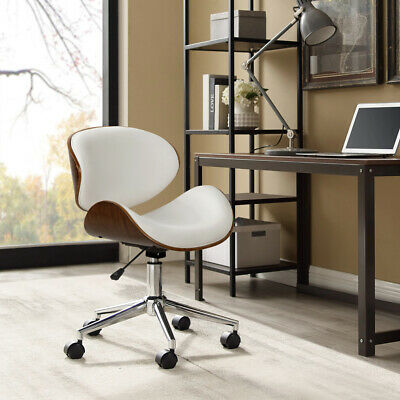 Curved Cushioned Office Chair PU Leather Executive Seat Swivel Wooden Frame