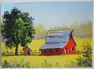 ACEO Original Acrylic Painting Red Kansas Barn Landscape Farm by Peggy Conyers