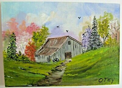 ACEO Original Acrylic Painting Old Barn in Spring Landscape Farm by Donna Otey