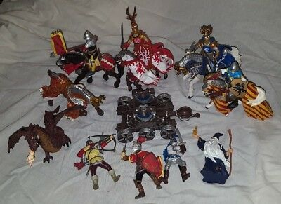 VTG 14 pc Lot Rare Papo Dragon Fighting Knight Horse Catapult Wizard Figures