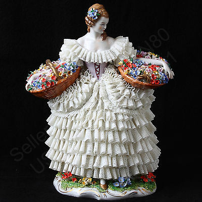 Sitzendorf Dresden Lace Lady Girl With Flower Baskets Porcelain Figurine Germany