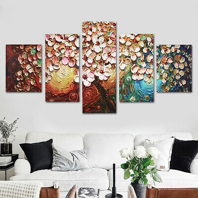 5Pcs Abstract Canvas Print Flower Tree Art Oil Painting Picture Home Wall Decor