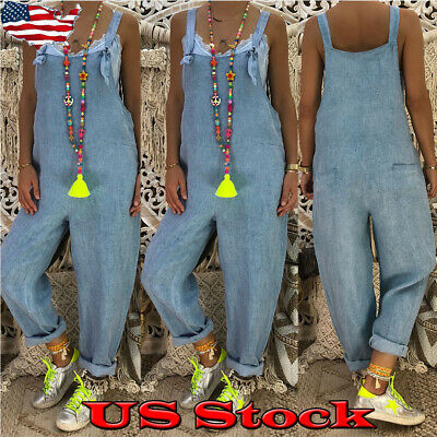328080aed Womens Baggy One-Piece Jumpsuits Overalls Denim Jeans Bib Trousers Long  Pants