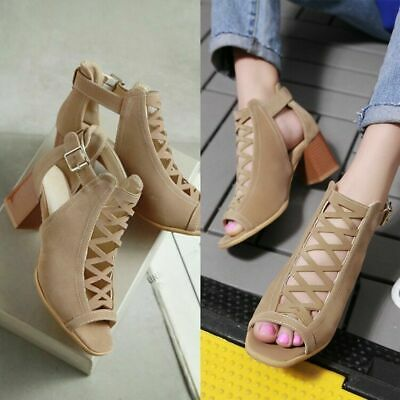 Fashion Women Hollow Cut Out Peep Toe Mid Heel Sandals Zipper Casual Dress Shoes