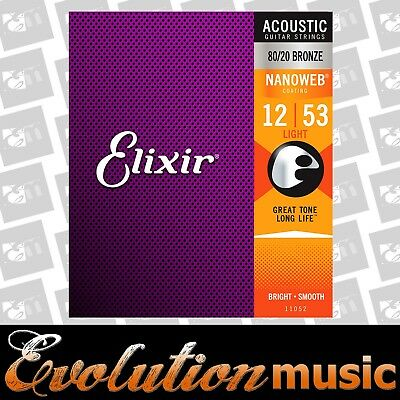 Elixir E11052 Nanoweb 12-53 Light 80/20  Coated Acoustic Guitar Strings  A-NW-L